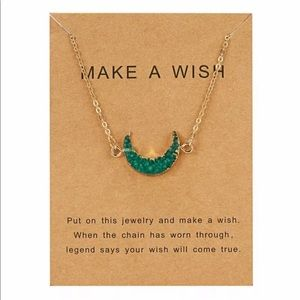 Jewelry - Make A Wish Crescent Moon Druzy Necklace Green